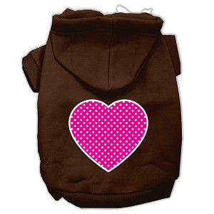 Pink Swiss Dot Heart Screen Print Pet Hoodies Brown Size XS (8)